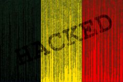 Data Hacked Belgium flag. Belgian flag with binary code. Royalty Free Stock Photo