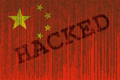 Data Hacked China flag. Chines flag with binary code. Binary code vector illustration