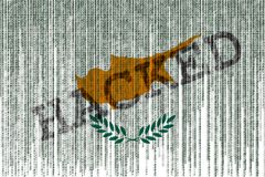 Data Hacked Cyprus flag. Cyprus flag with binary code. Royalty Free Stock Photo