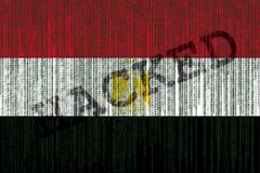 Data Hacked Egypt flag. Egyptian flag with grunge texture. Stock Photography