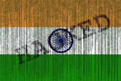 Data Hacked India flag. India flag with binary code. Stock Photo