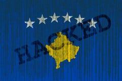 Data Hacked Kosovo flag. Kosovo flag with binary code. Stock Photo