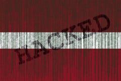 Data Hacked Latvia flag. Latvia flag with binary code. Binary code Stock Images