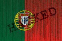 Data Hacked Portugal flag. Portugal flag with binary code. Royalty Free Stock Photo