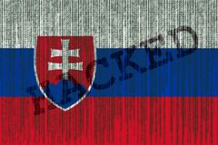 Data Hacked Slovak Republic flag. Slovak Republic flag with bina Stock Photo