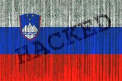 Data Hacked Slovenia flag. Slovenia flag with binary code. Stock Photos