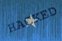Data Hacked Somalia flag. Somalia flag with binary code. Stock Photos