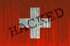 Data Hacked Switzerland flag. Swiss flag with binary code. Royalty Free Stock Image