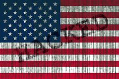 Data Hacked USA flag. American flag with binary code. Stock Photos