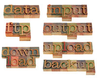 Data handling on internet. Topics related to data transfer and handling on internet (input, output, ftp, upload, download, backup) - words in vintage wooden stock image
