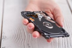 Data hard drive backup disc hdd disk restoration restore recover. Y engineer work tool virus access file fixing failed profession engineering maintenance Royalty Free Stock Photos