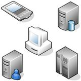Data hardware icons. 3D data hardware and network icons Royalty Free Stock Image