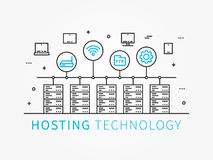 Data Hosting Infrastructure with server system. Analysis infrastructure for server room with different devices and icons. Vector illustration, linear concept Stock Photo