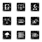 Data icons set, grunge style. Data icons set. Grunge illustration of 9 data vector icons for web Stock Photo