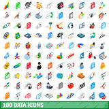 100 data icons set, isometric 3d style. 100 data icons set in isometric 3d style for any design vector illustration Stock Image