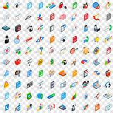 100 data icons set, isometric 3d style. 100 data icons set in isometric 3d style for any design vector illustration Royalty Free Stock Photo