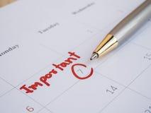 Data importante na mesa 11 do calendário fotografia de stock royalty free