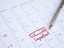 Data importante sullo scrittorio 12 del calendario Fotografia Stock Libera da Diritti