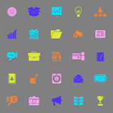 Data and information color icons on gray background Stock Photography