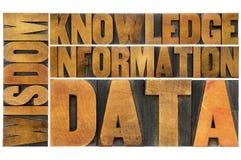 Data information, kunskap, vishet Arkivfoto