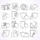 Data and Information Protection Security Icons Royalty Free Stock Photography