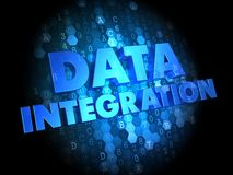 Data Integration on Dark Digital Background. Royalty Free Stock Images