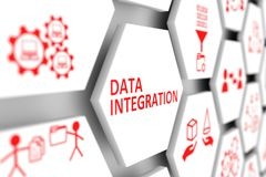 Data integration. Concept cell blurred background 3d illustration Royalty Free Stock Photo