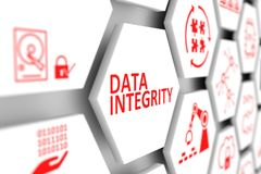 DATA INTEGRITY concept. Cell blurred background 3d illustration Royalty Free Stock Photo