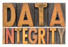 Data integrity word abstract in wood type royalty free stock photography