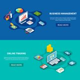 Trading Horizontal Banners Set. Data isometric banners collection with text read more button and online trading business pictograms and images vector Royalty Free Stock Photography
