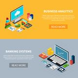 Data Isometric Banners Set. Set of two horizontal data isometric banners with laptop computer and money icons with read more button vector illustration Royalty Free Stock Photography