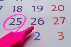 Data kalendarz z czerwonym okręgiem zdjęcie royalty free
