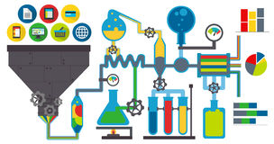 Data laboratory. Data lab with charts white background Royalty Free Stock Photography