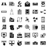 Data in laptop icons set, simple style. Data in laptop icons set. Simple style of 36 Data in laptop vector icons for web isolated on white background Stock Image