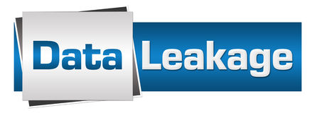 Data Leakage Blue Grey Horizontal. Data leakage text written over grey blue background Royalty Free Stock Photos