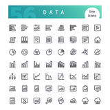 Data Line Icons Set. Set of 56 data analytics line icons suitable for web, infographics and apps. on white background. Clipping paths included royalty free illustration