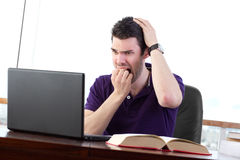 Data Loss - Stressed out student Stock Photos