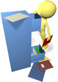 Data man find files in 3D office filing cabinet. 3D office worker character searches for a data file in an office filing cabinet Royalty Free Stock Images
