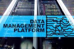Data management and analysis platform concept on server room background vector illustration
