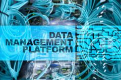 Data management and analysis platform concept on server room background.  stock images