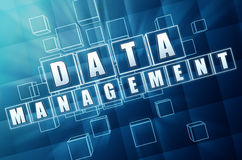 Data management in blue glass blocks Stock Images