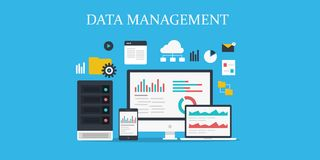 Data management, cloud system, network, storage, data protection, online server concept. Flat design vector banner. Data management and cloud computing solution Stock Photography