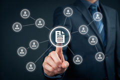 Data management. Corporate data management system (DMS) and document management system concept. Businessman click (or publish) on document connected with royalty free stock photography