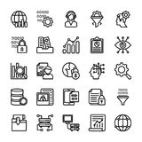 Data Management Line Icons Collection. The pack comprises of elements from data management concept. The line icons in the set symbolize data organization and Royalty Free Stock Photo
