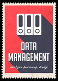 Data Management on Red in Flat Design. Royalty Free Stock Image