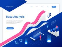 Data Management System and Business Analytics Concept isometric vector illustration. Hosting Server or Data Center Room. Web banner stock illustration