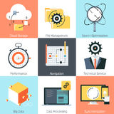 Data management theme, flat style, colorful,  icon set Stock Photography