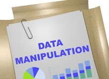 Data Manipulation concept. 3D illustration of DATA MANIPULATION title on business document Royalty Free Stock Images