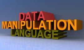 Data manipulation language. 3D block letters spelling data manipulation language on purple background Stock Photo