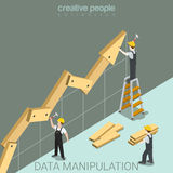 Data manipulation statistics graphic flat isometric vector 3d. Data manipulation flat 3d isometry isometric juggling with facts report statistics concept web Stock Images